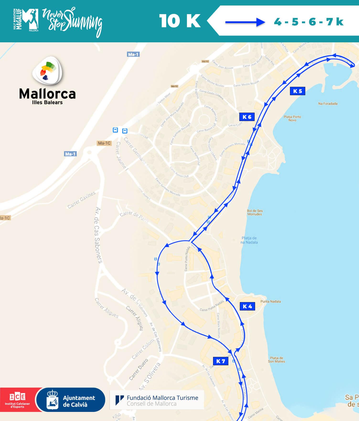 Circuito 10 km Half Marathon Magaluf, Circuitos Media Maratón de Magaluf , Avituallamientos - Media maratón Mallorca (Magaluf)